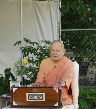 Swami Kriyananda Playing the Harmonium